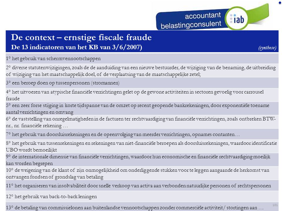 De context – ernstige fiscale fraude