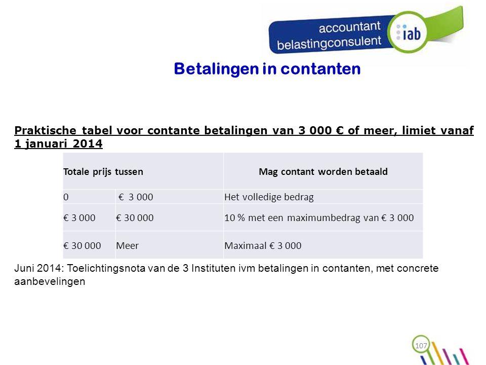 Betalingen in contanten