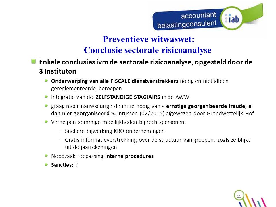 Preventieve witwaswet: Conclusie sectorale risicoanalyse