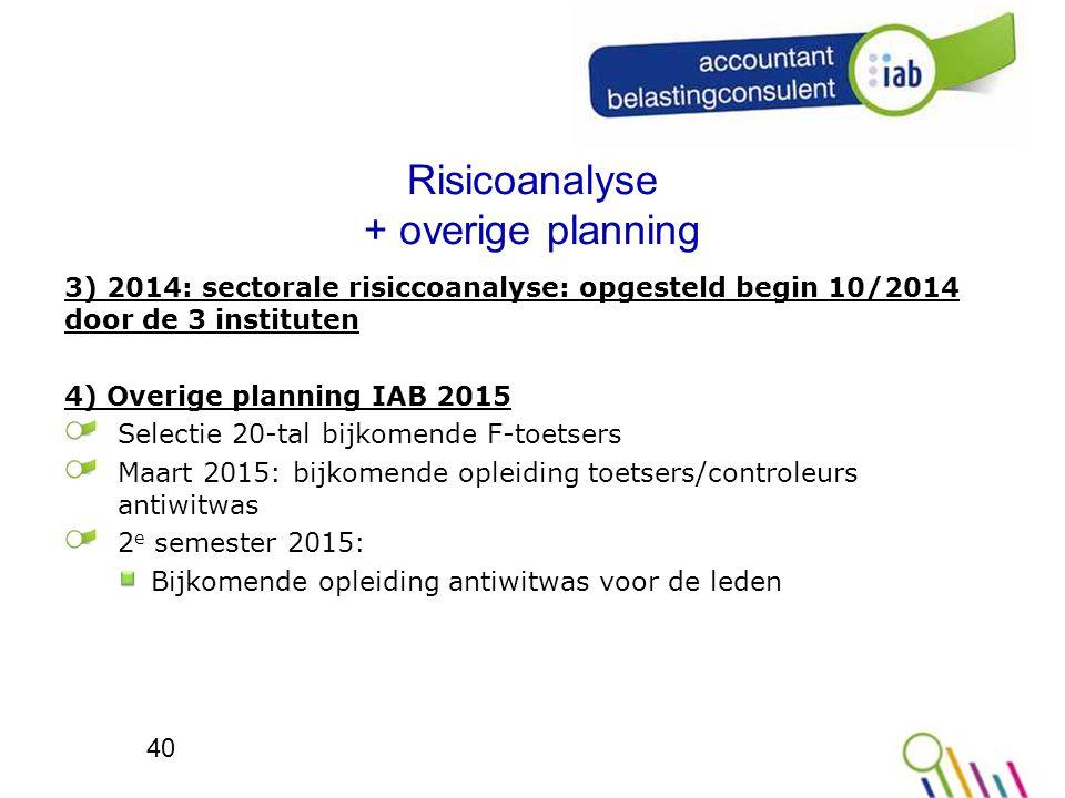 Risicoanalyse + overige planning