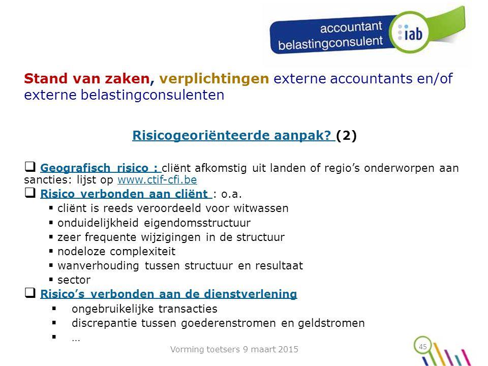 Risicogeoriënteerde aanpak (2)