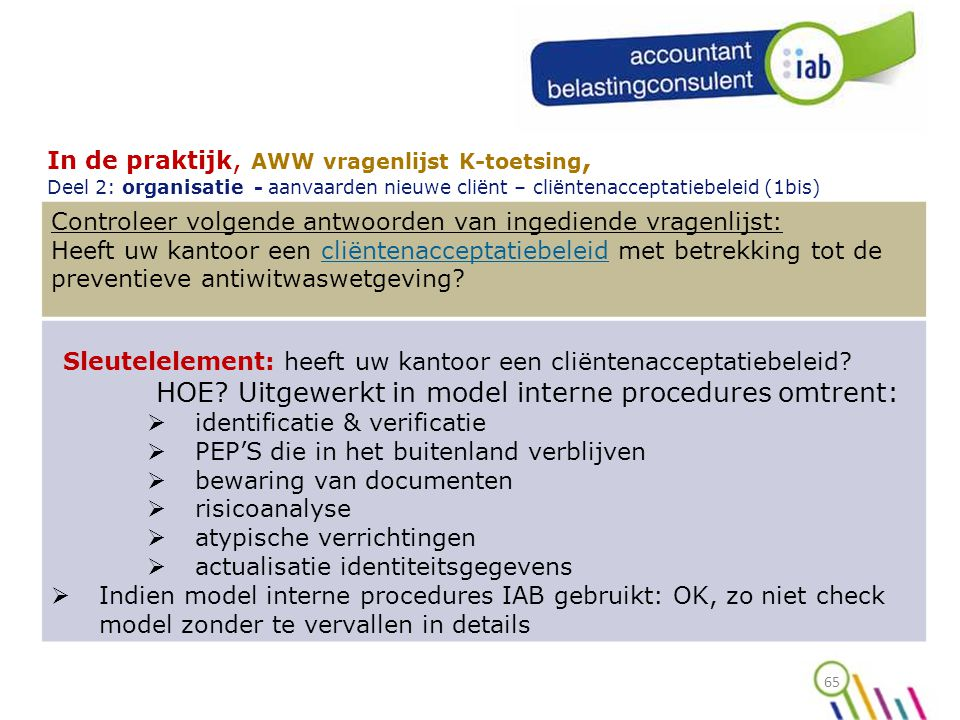 HOE Uitgewerkt in model interne procedures omtrent: