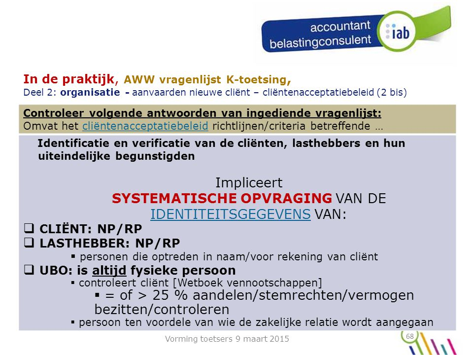 SYSTEMATISCHE OPVRAGING VAN DE IDENTITEITSGEGEVENS VAN: CLIËNT: NP/RP