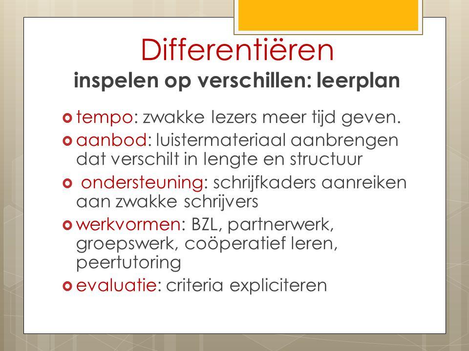 Differentiëren inspelen op verschillen: leerplan