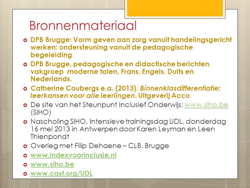 Bronnenmateriaal DPB Brugge: Vorm geven aan zorg vanuit handelingsgericht werken: ondersteuning vanuit de pedagogische begeleiding.