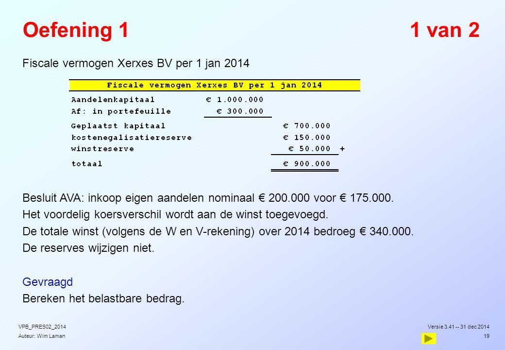 Oefening 1 1 van 2 Fiscale vermogen Xerxes BV per 1 jan 2014