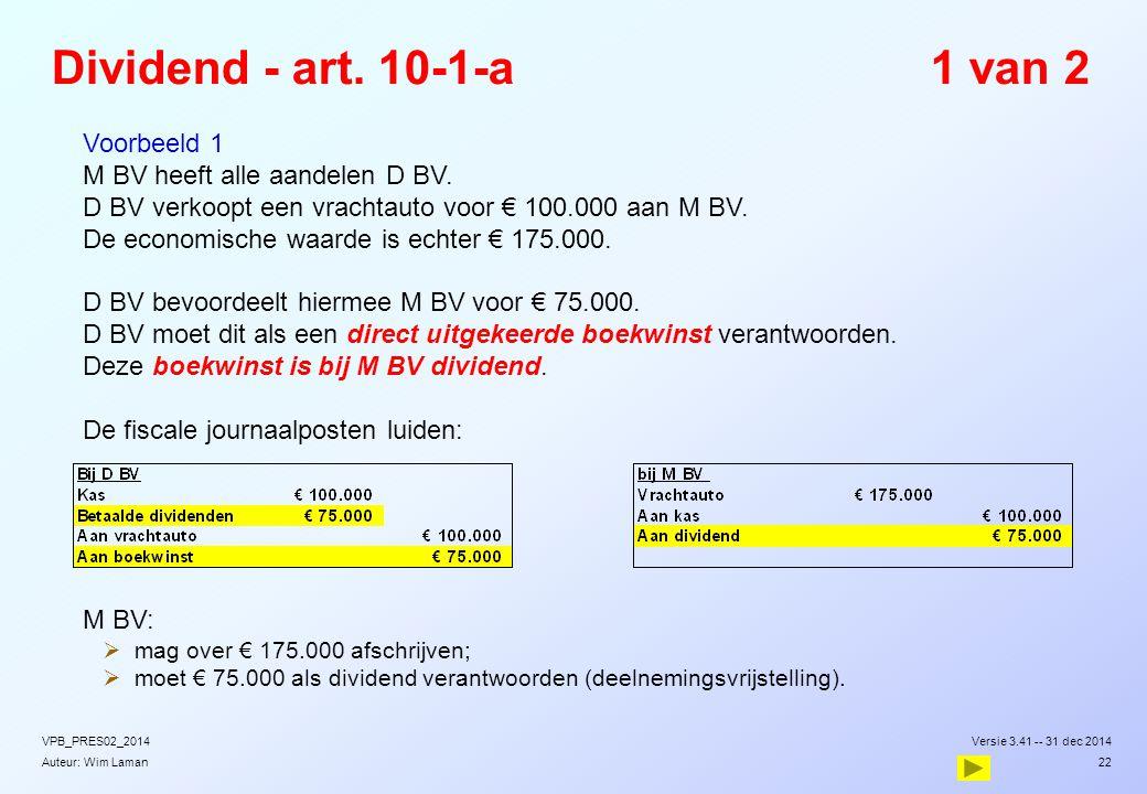 Dividend - art. 10-1-a 1 van 2 Voorbeeld 1
