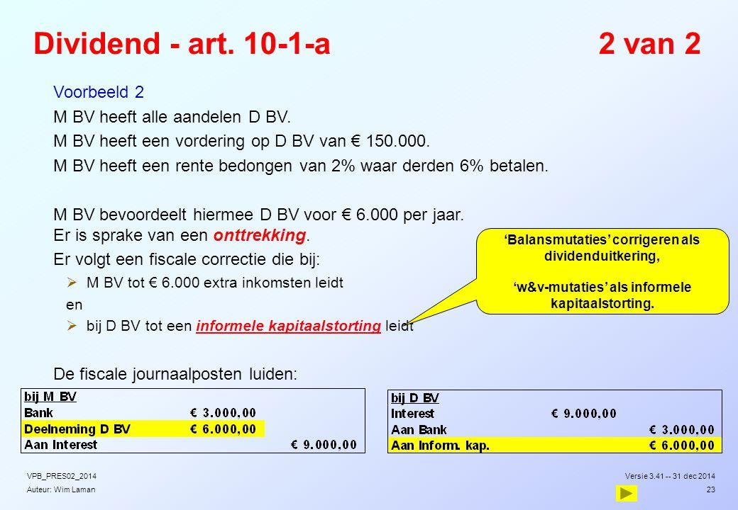 Dividend - art. 10-1-a 2 van 2 Voorbeeld 2