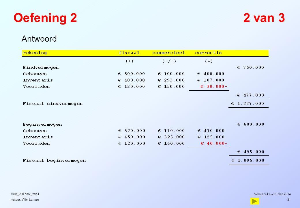 Oefening 2 2 van 3 Antwoord VPB_PRES02_2014 Versie 3.41 -- 31 dec 2014