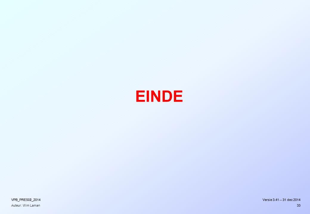 EINDE VPB_PRES02_2014 VPB_PRES01_2014 Versie 3.41 -- 31 dec 2014
