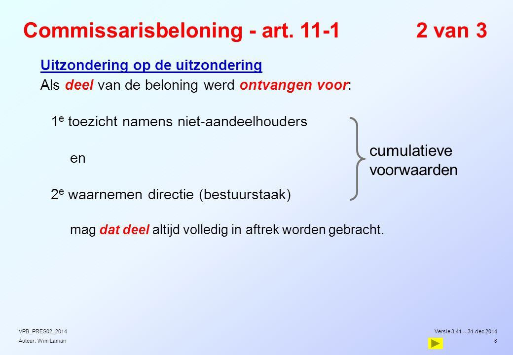 Commissarisbeloning - art. 11-1 2 van 3