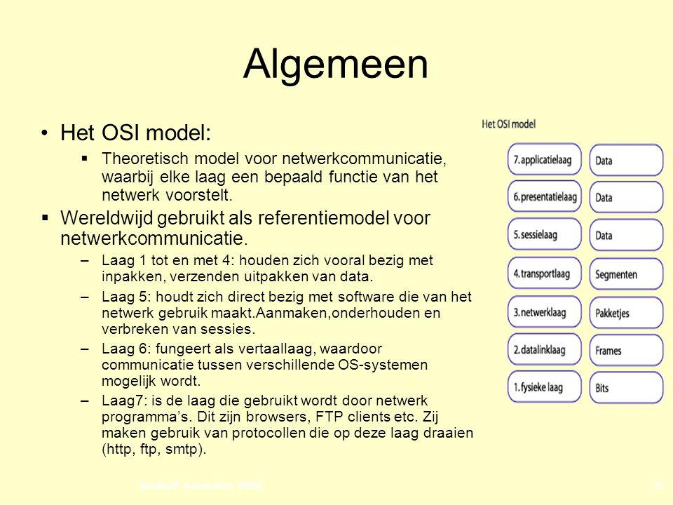 Algemeen Het OSI model: