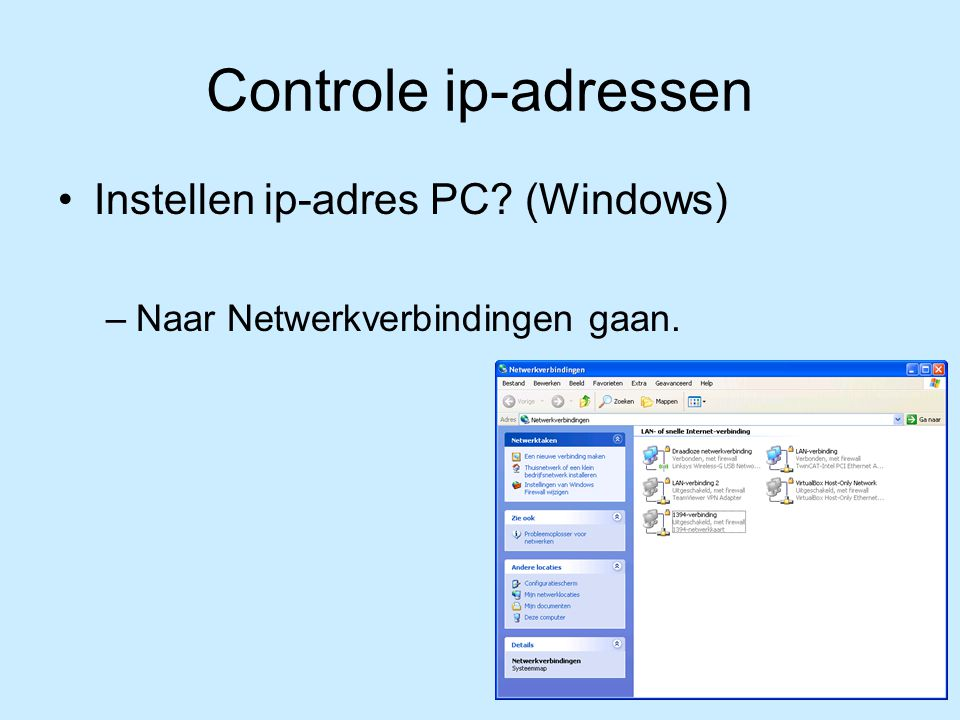 Controle ip-adressen Instellen ip-adres PC (Windows)