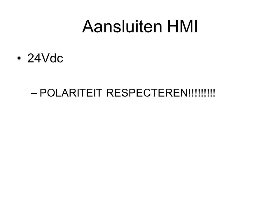 Aansluiten HMI 24Vdc POLARITEIT RESPECTEREN!!!!!!!!!