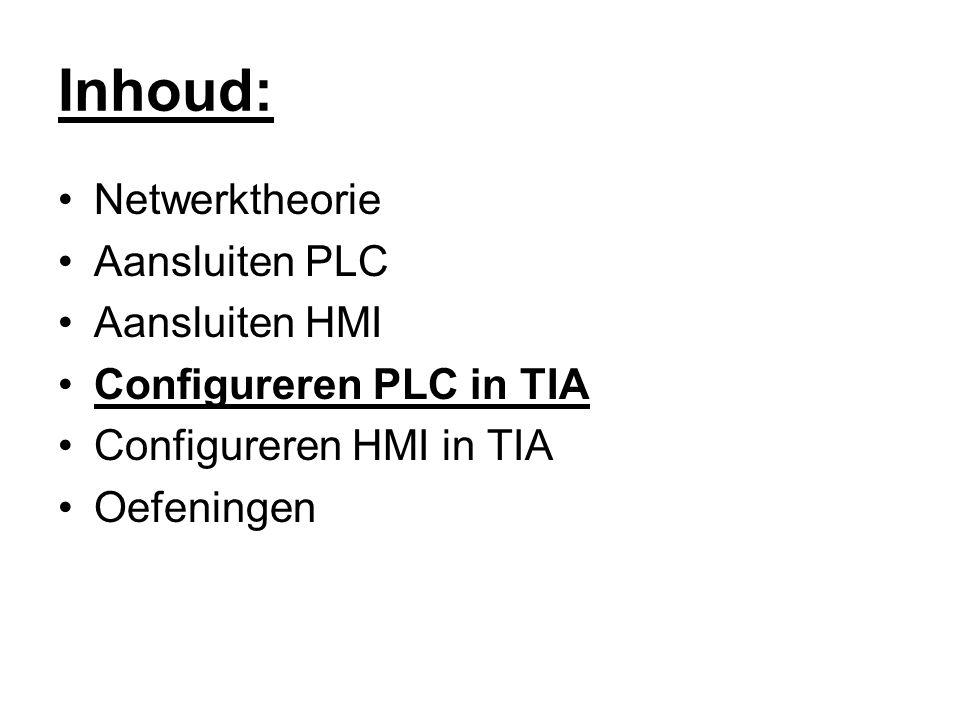 Inhoud: Netwerktheorie Aansluiten PLC Aansluiten HMI