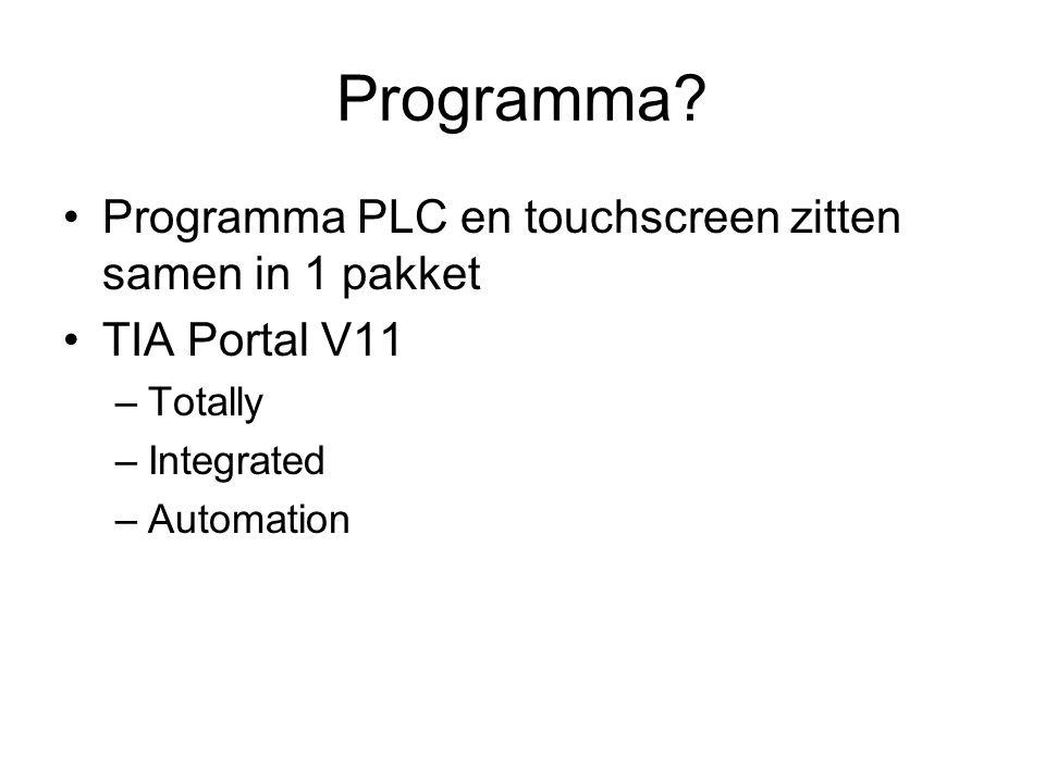 Programma Programma PLC en touchscreen zitten samen in 1 pakket