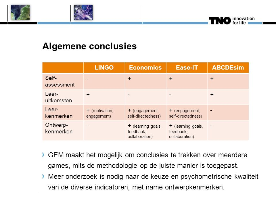 Algemene conclusies LINGO. Economics. Ease-IT. ABCDEsim. Self-assessment. - + Leer- uitkomsten.