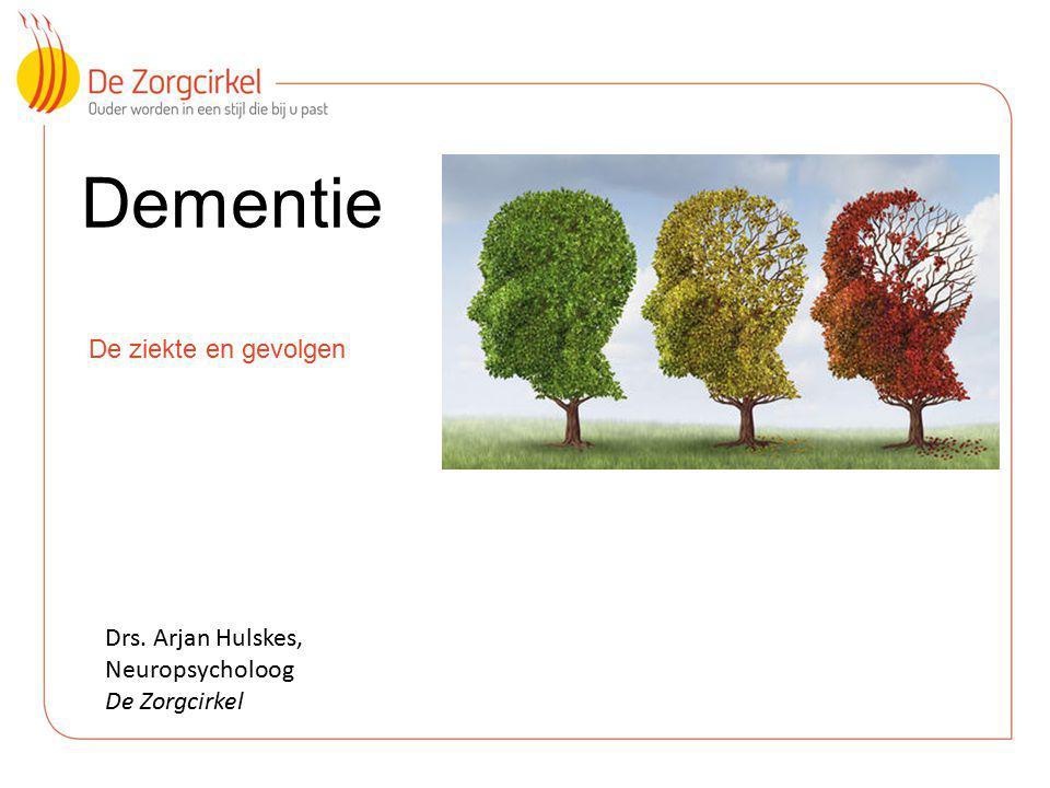 Dementie De ziekte en gevolgen Drs. Arjan Hulskes, Neuropsycholoog