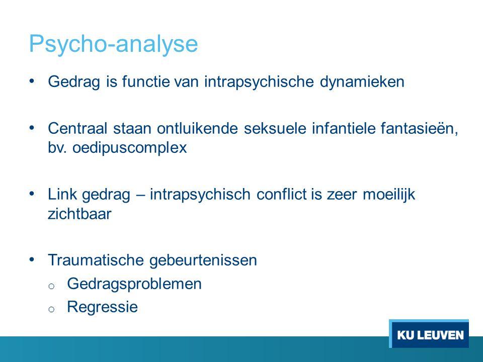 Psycho-analyse Gedrag is functie van intrapsychische dynamieken