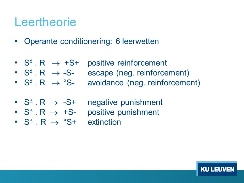 Leertheorie Operante conditionering: 6 leerwetten