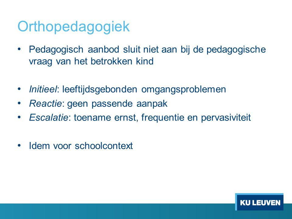 Orthopedagogiek Pedagogisch aanbod sluit niet aan bij de pedagogische vraag van het betrokken kind.