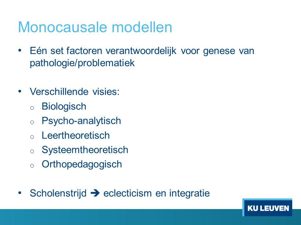 Monocausale modellen Eén set factoren verantwoordelijk voor genese van pathologie/problematiek. Verschillende visies: