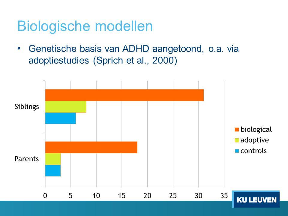 Biologische modellen Genetische basis van ADHD aangetoond, o.a.