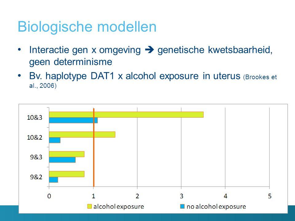 Biologische modellen Interactie gen x omgeving  genetische kwetsbaarheid, geen determinisme.