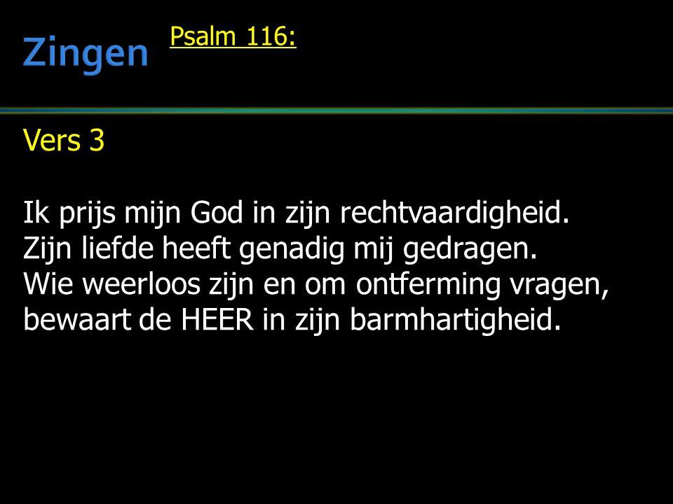 Zingen Vers 3 Ik prijs mijn God in zijn rechtvaardigheid.