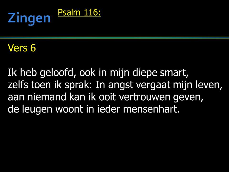 Zingen Vers 6 Ik heb geloofd, ook in mijn diepe smart,