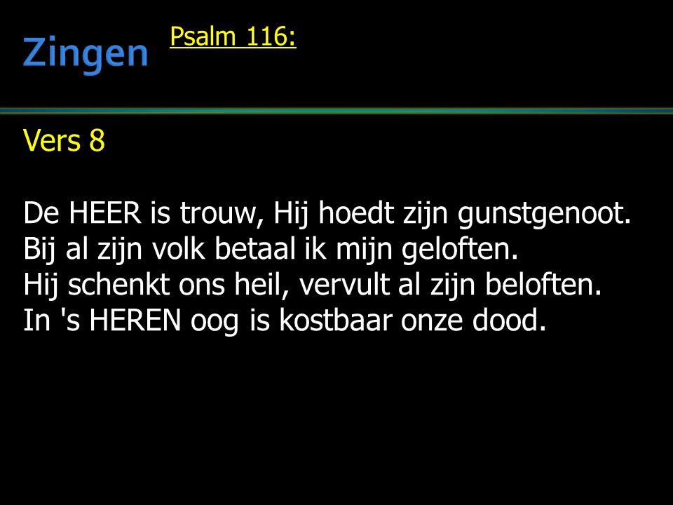 Zingen Vers 8 De HEER is trouw, Hij hoedt zijn gunstgenoot.