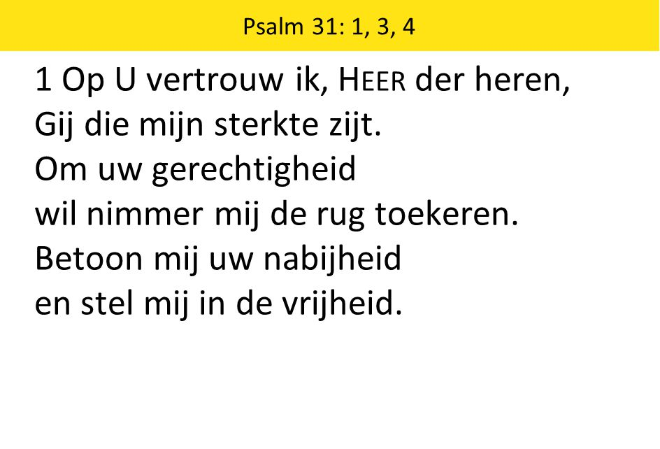 1 Op U vertrouw ik, Heer der heren, Gij die mijn sterkte zijt.