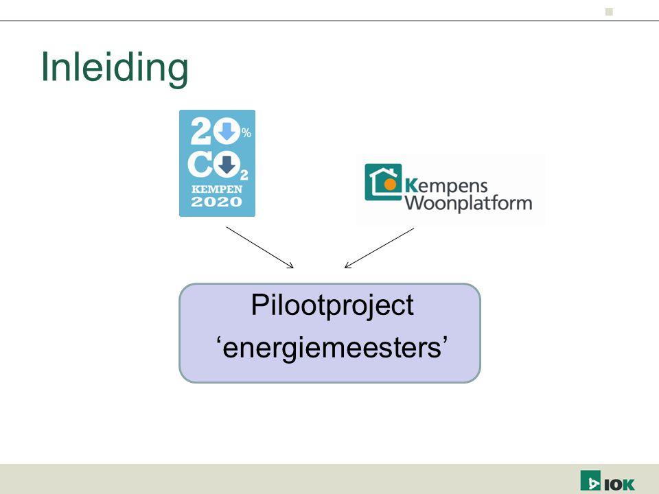 Inleiding Pilootproject 'energiemeesters'