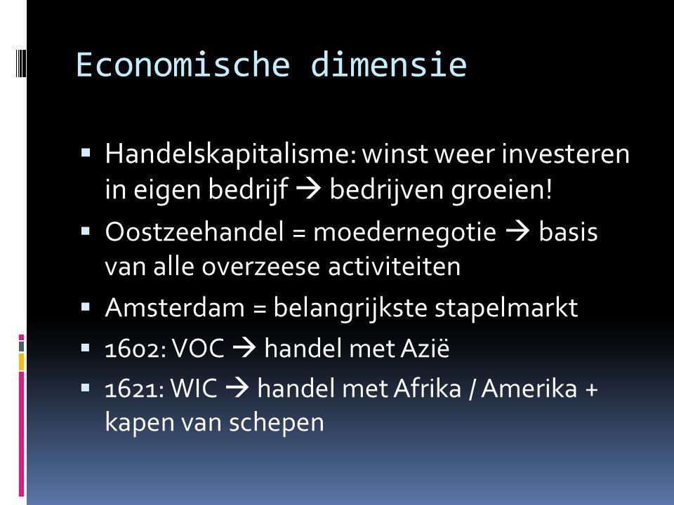 Economische dimensie Handelskapitalisme: winst weer investeren in eigen bedrijf  bedrijven groeien!
