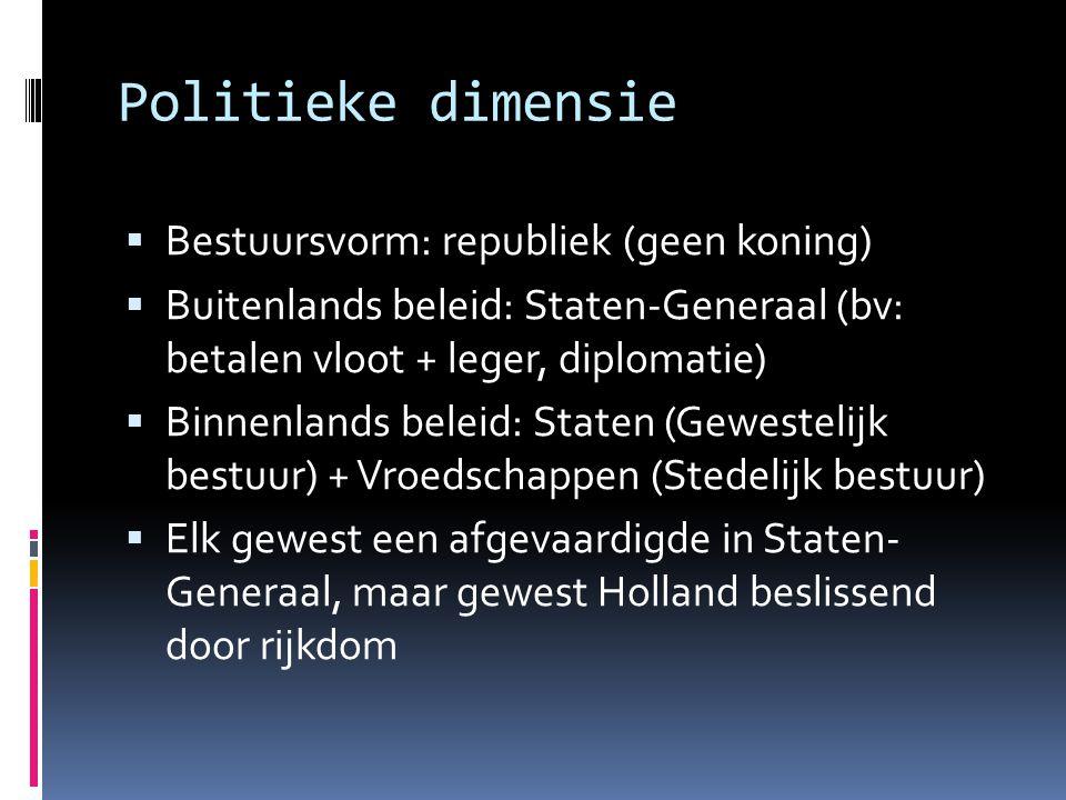 Politieke dimensie Bestuursvorm: republiek (geen koning)