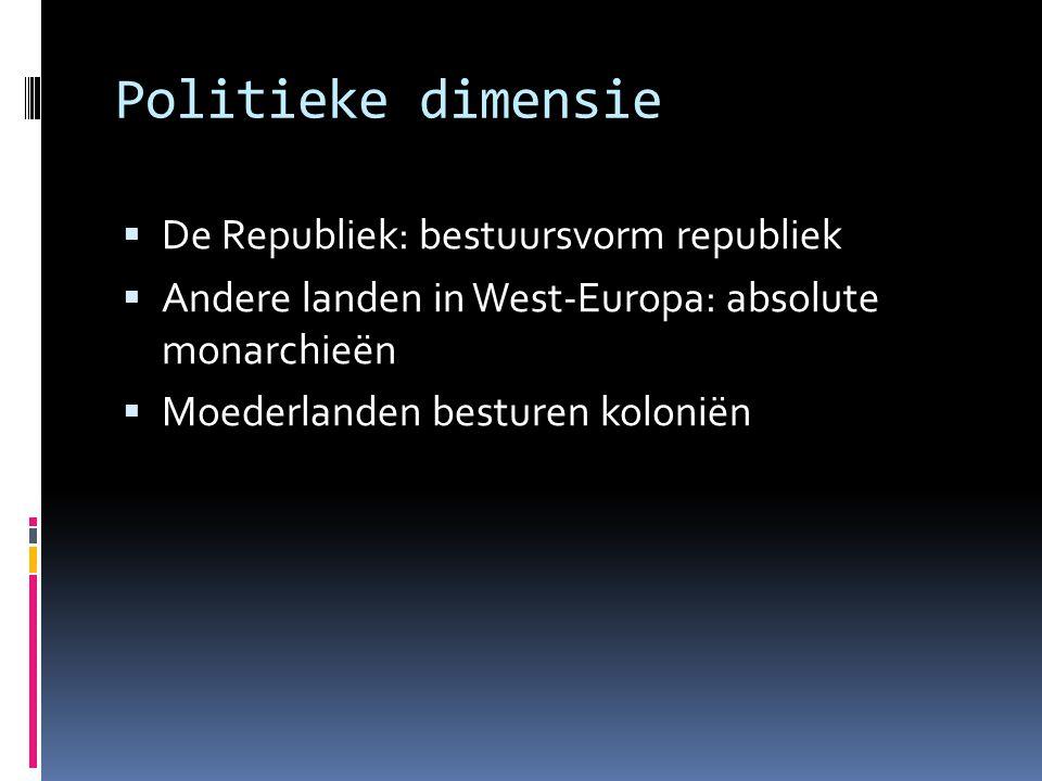 Politieke dimensie De Republiek: bestuursvorm republiek