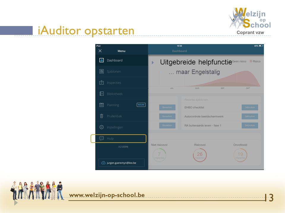 iAuditor opstarten Uitgebreide helpfunctie www.welzijn-op-school.be