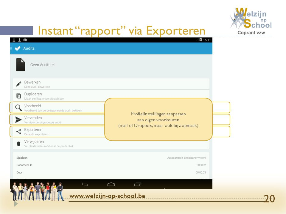Instant rapport via Exporteren