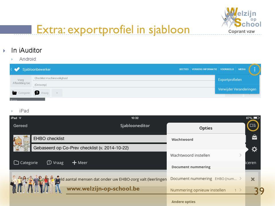 Extra: exportprofiel in sjabloon