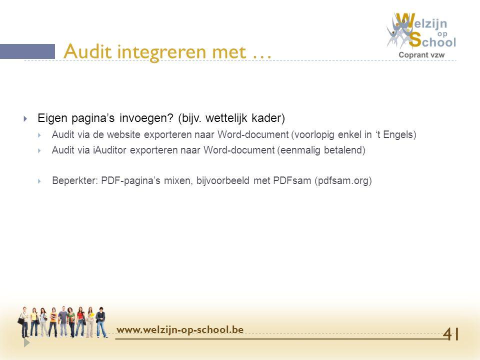 Audit integreren met … Eigen pagina's invoegen (bijv. wettelijk kader)