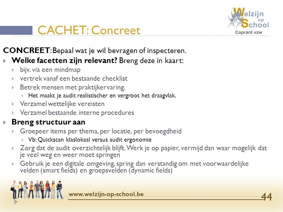 CACHET: Concreet CONCREET: Bepaal wat je wil bevragen of inspecteren.