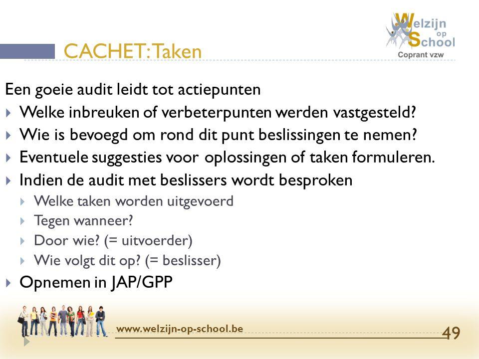 CACHET: Taken Een goeie audit leidt tot actiepunten