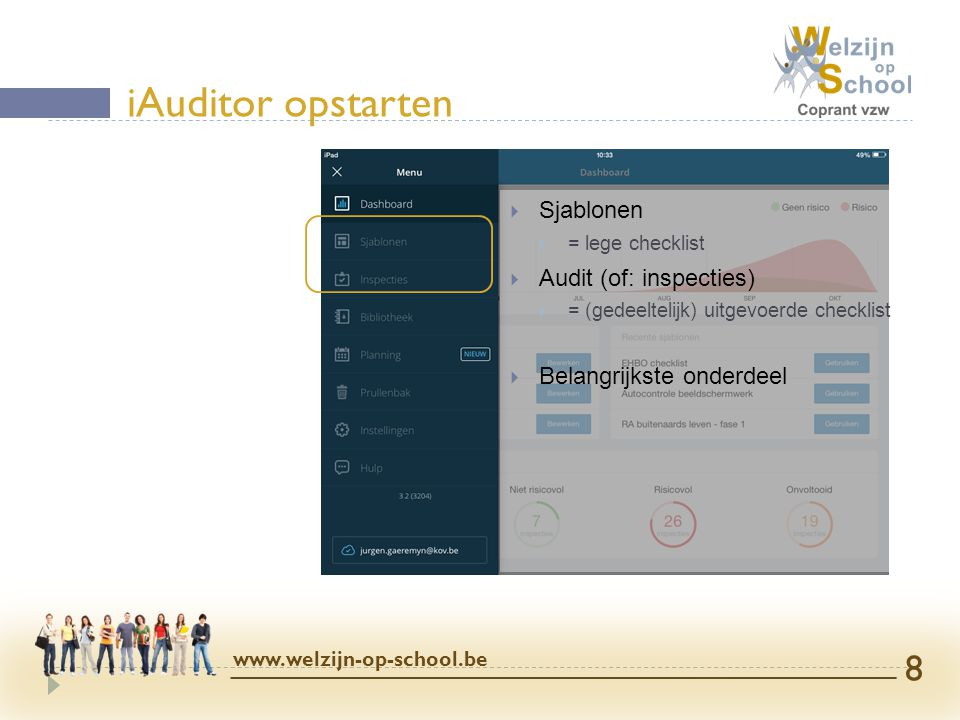 iAuditor opstarten Sjablonen Audit (of: inspecties)