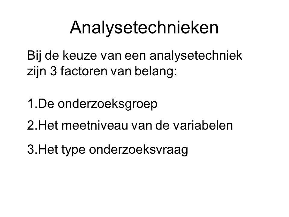 Analysetechnieken Bij de keuze van een analysetechniek zijn 3 factoren van belang: 1.De onderzoeksgroep.
