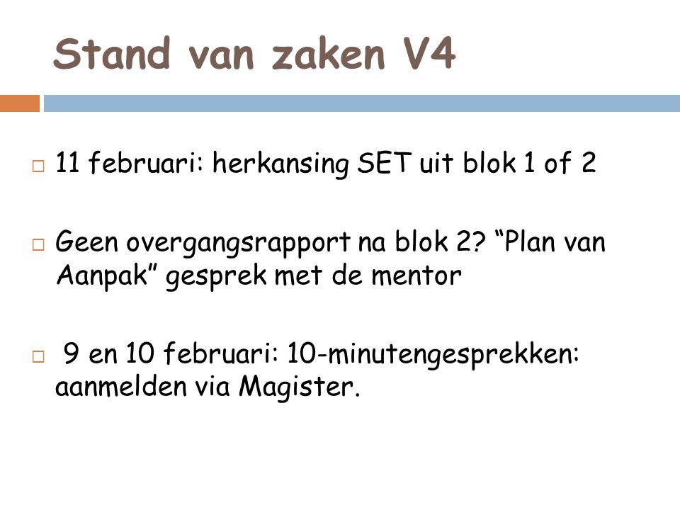 Stand van zaken V4 11 februari: herkansing SET uit blok 1 of 2