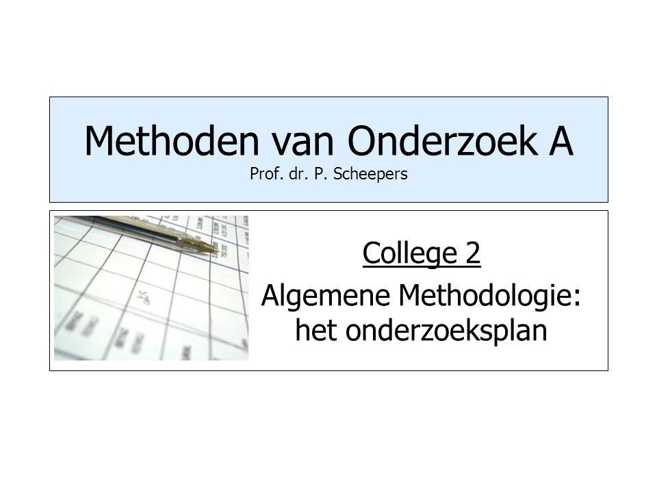 Methoden van Onderzoek A Prof. dr. P. Scheepers