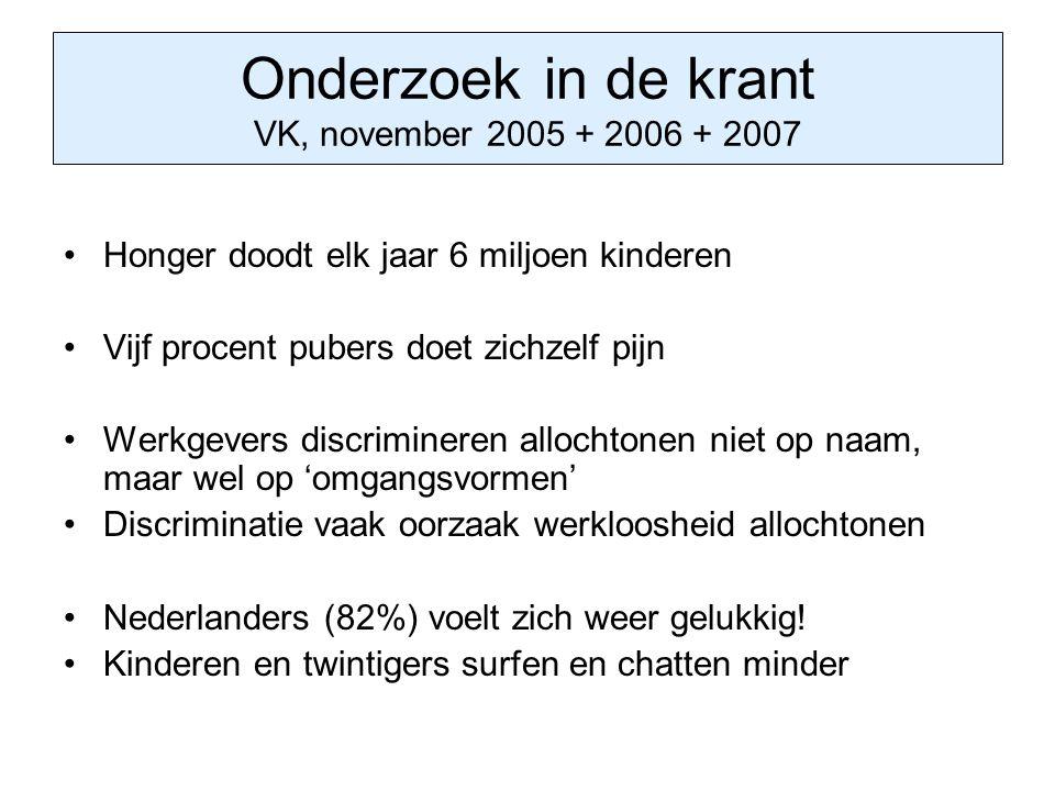Onderzoek in de krant VK, november 2005 + 2006 + 2007