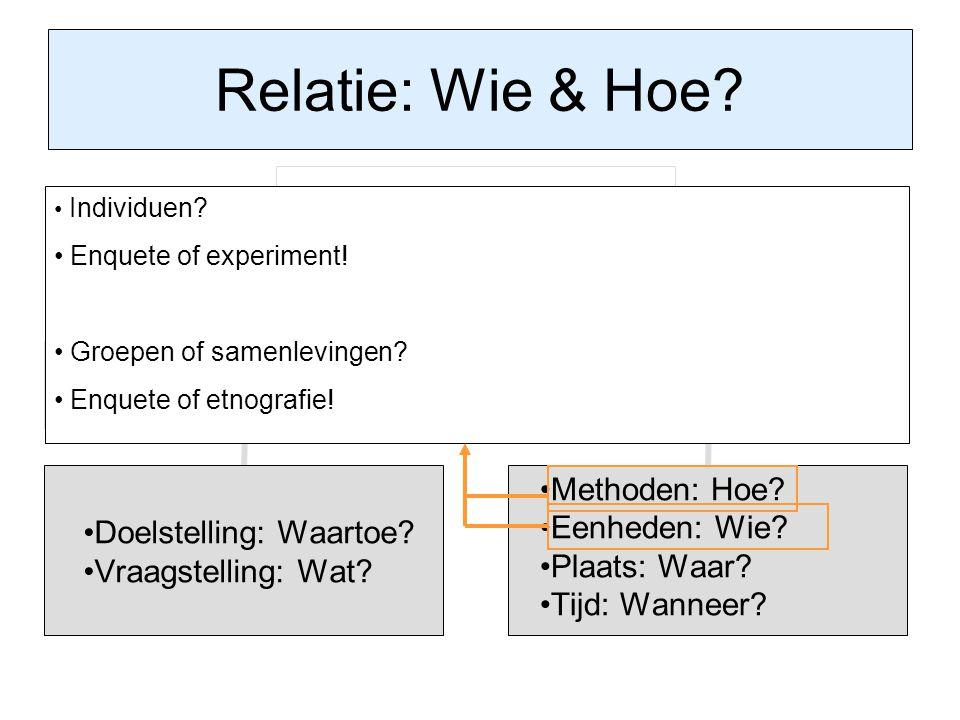 Relatie: Wie & Hoe Enquete of experiment! Groepen of samenlevingen