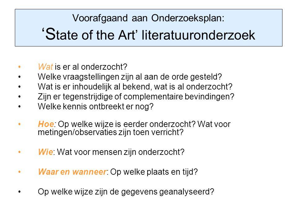Voorafgaand aan Onderzoeksplan: 'State of the Art' literatuuronderzoek