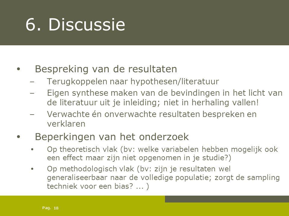 6. Discussie Bespreking van de resultaten